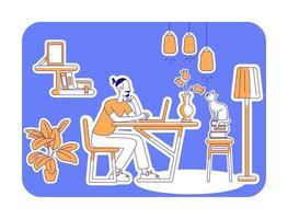 temps libre à la maison illustration vectorielle silhouette plate vecteur