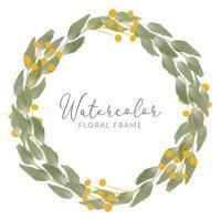 bouquet de feuilles aquarelle avec couronne de feuilles dorées