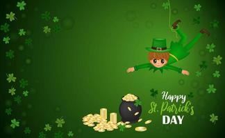heureux st. illustration vectorielle de patrick's day avec garçon suspendu et chaudron avec des pièces de monnaie