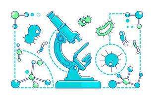 illustration vectorielle de microbiologie fine ligne concept vecteur