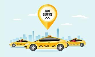 illustration vectorielle de taxi service plat couleur vecteur