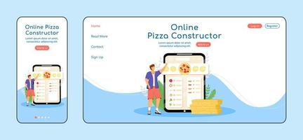 modèle de vecteur de couleur plate page de destination adaptative constructeur de pizza