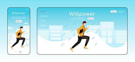 modèle de vecteur de couleur plate page de destination willpower