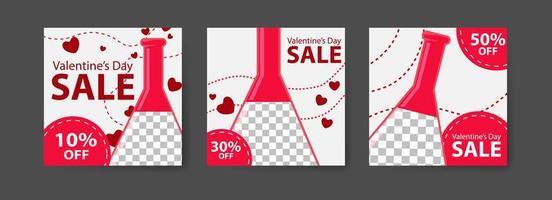 modèles de publication sur les réseaux sociaux pour le marketing numérique et la promotion des ventes le jour de la Saint-Valentin. publicité de mode. proposer des bannières de réseaux sociaux. illustration de maquette de cadre photo vectoriel