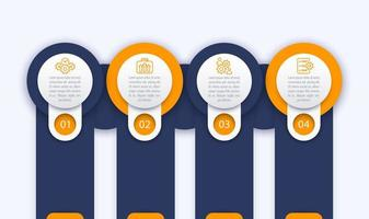 modèle d & # 39; infographie d & # 39; entreprise, 1, 2, 3, 4 étapes avec des icônes de ligne vecteur