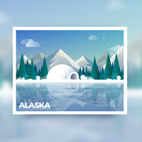 carte postale de l'Alaska vecteur