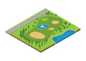Vue aérienne de cours de golf vecteur isométrique