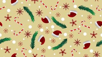 Texture transparente beige de Noël avec chapeau de père Noël, branches d'arbres de Noël, canne en bonbon et flocon de neige