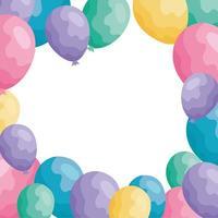 cadre de décoration ballons hélium vecteur
