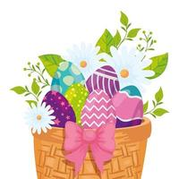 oeufs de pâques en osier et décoration de fleurs vecteur