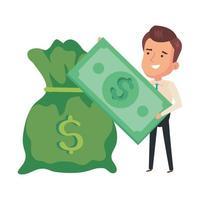 sac d & # 39; argent avec homme d & # 39; affaires et facture