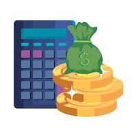 argent sac en espèces avec calculatrice et pièces de monnaie