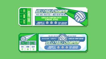 Vecteur de billet d'événement de champion de volley-ball
