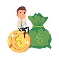 sac d & # 39; argent avec homme d & # 39; affaires avec pièce