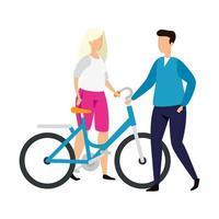 couple avec icône de personnage avatar vélo