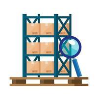Rayonnage métallique d'entrepôt avec boîtes et loupe vecteur