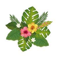 jolies fleurs avec icône isolé de feuilles vecteur