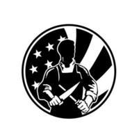 Couteau à aiguiser de boucher américain avec drapeau usa vecteur