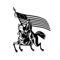 Général révolutionnaire patriote américain à cheval vecteur