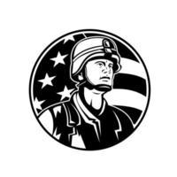 Buste de soldat américain militaire avec des étoiles américaines vecteur