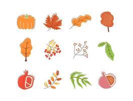 ensemble d'éléments abstraits vecteur plat prime automne