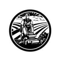 Jardinier paysagiste tonte tour sur tondeuse à gazon vintage rétro noir et blanc vecteur