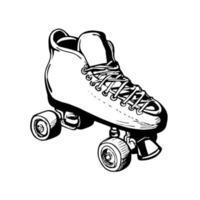 patins à roulettes vintage femme ou dames vecteur