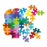 tête de profil avec des pièces de puzzle vecteur