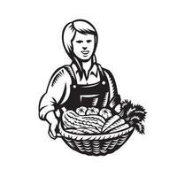 agricultrice biologique avec panier de légumes vecteur