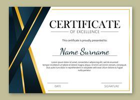Modèle de certificat d'excellence en or vecteur