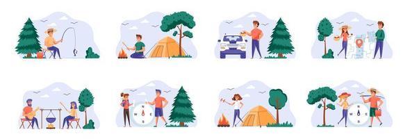 ensemble de scènes de camping avec des personnages de personnes. vecteur