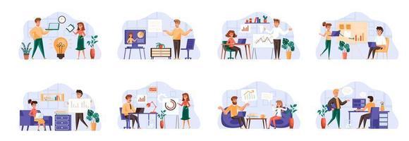 ensemble de scènes de réunion d'affaires avec des personnages de personnes. vecteur