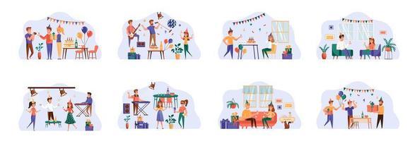 groupe de scènes avec des personnages plats.
