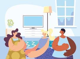 personnes réunies partageant à la maison