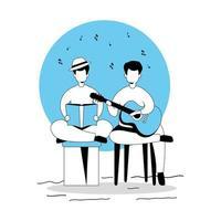 hommes avec guitare et livre icône isolé