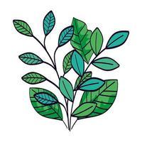 branches avec des feuilles icône isolé naturel