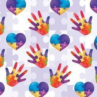 coeurs de fond avec les mains de l'icône de pièces de puzzle vecteur