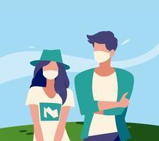 avatar femme et homme avec masque à l'extérieur de la conception de vecteur