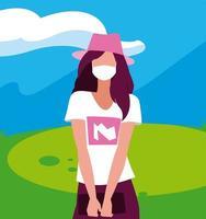 avatar de femme avec masque à l'extérieur de la conception de vecteur