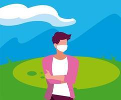 avatar homme avec masque à l'extérieur de la conception de vecteur