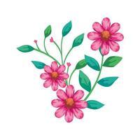 jolies fleurs roses avec des branches et des feuilles icône isolé