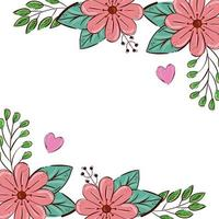 cadre de fleurs couleur rose avec feuilles et coeurs