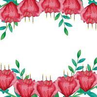 cadre de fleurs rouges avec des branches et des feuilles