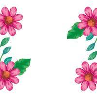 cadre de fleurs couleur rose avec des feuilles naturelles