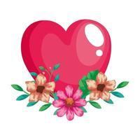 joli coeur rose avec décoration de fleurs et de feuilles