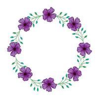 cadre circulaire de fleurs violet avec des branches et des feuilles