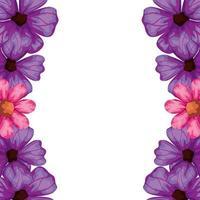 cadre de jolies fleurs couleur rose et violet