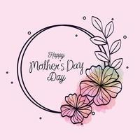 bonne fête des mères carte et cadre circulaire avec décoration de fleurs vecteur