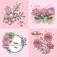 Set de cartes de bonne fête des mères avec décoration de fleurs vecteur