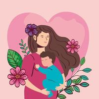 Femme enceinte portant bébé garçon avec décoration de fleurs vecteur